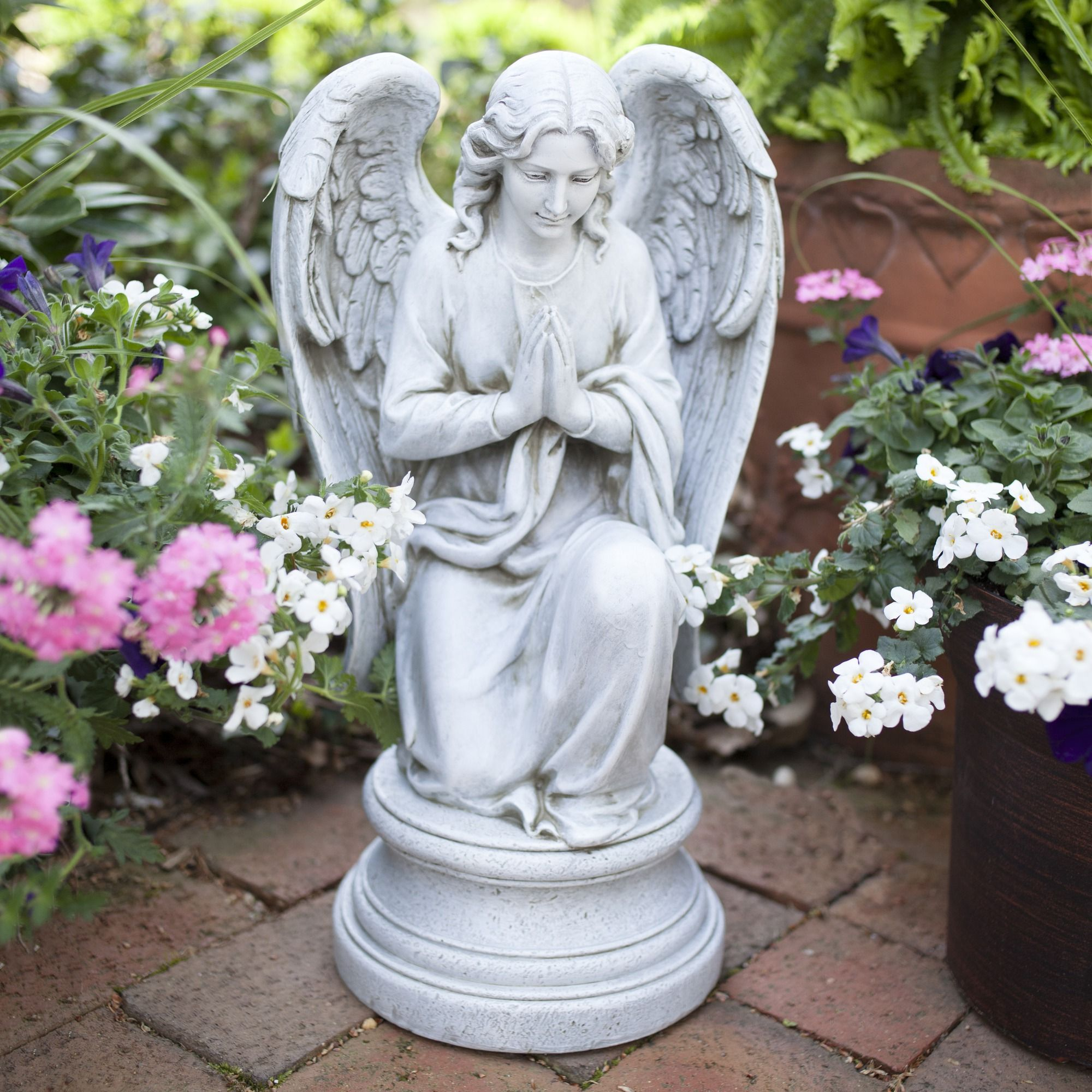 Garden Angel Kneeling Praying Guardian Angel Outdoor Statue Guardian