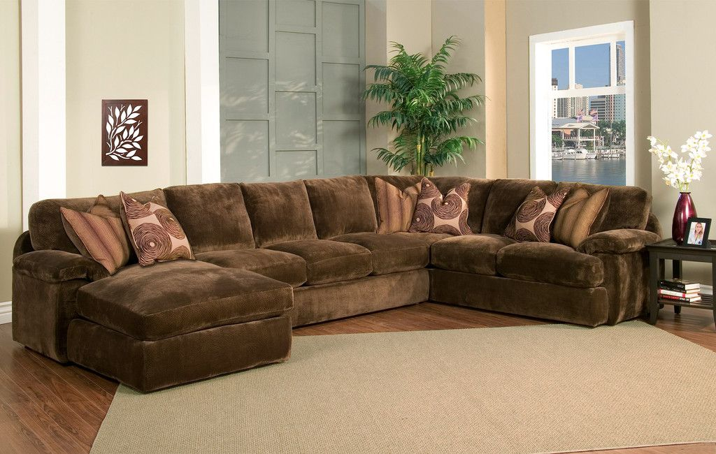 Champion Brown Fabric 4-Peice Oversized Chaise Sectional Set - oversized living room sets