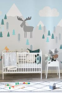 Kids Mountain Scene Wall Mural | Best Pastel mint, Snowy ...