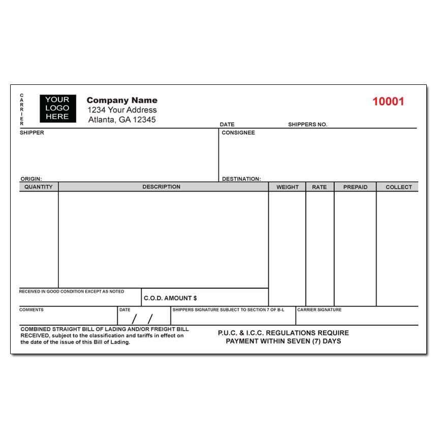 Custom Freight Bill of Lading Form Shipping And Export Forms - generic bol form