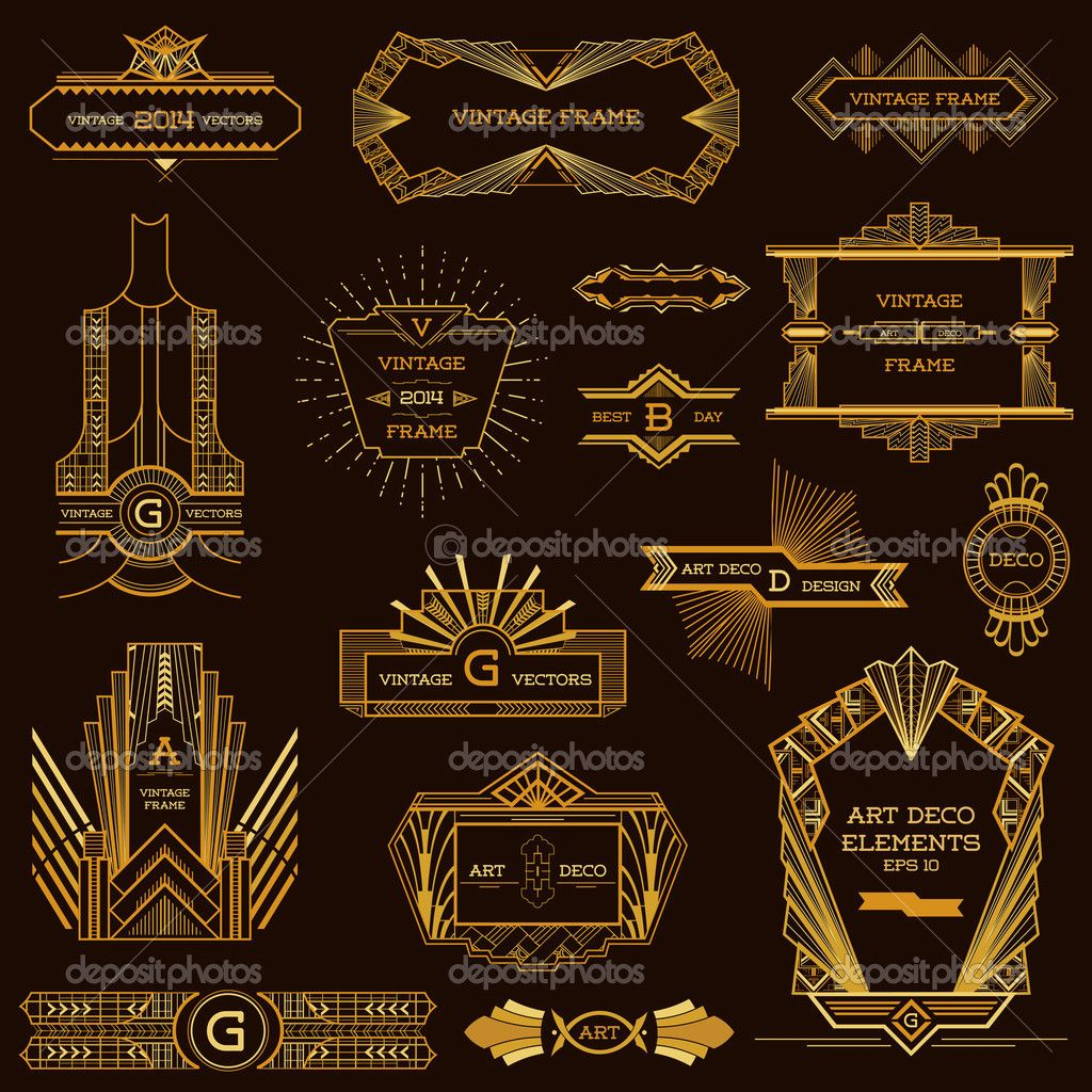 Designer Deko Art Deco Vintage Frames And Design Elements In Vector