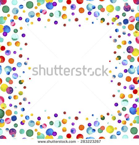 Cute Bordered Pastel Flower Wallpaper Watercolor Rainbow Colored Confetti Border With Space For