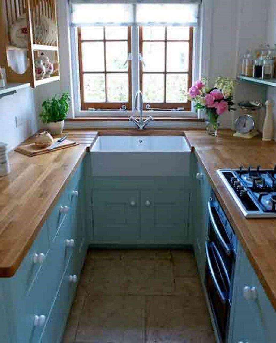 blue kitchen cabinets 47 Best Galley Kitchen Designs