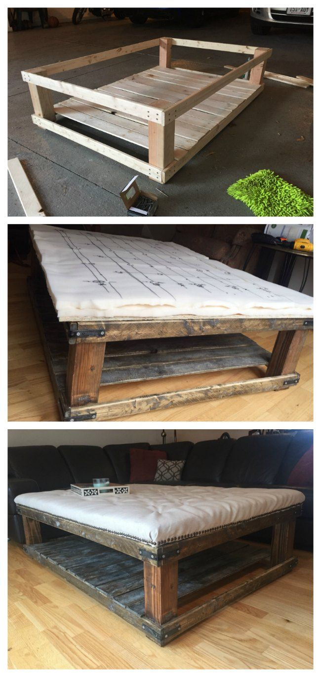 DIY Oversized Tufted Ottoman Coffee Table Upholstered Top