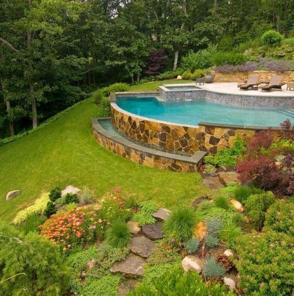 Pool Steinmauer Garten Hang Rasen Haus im Wald Haus Pinterest - garten am hang