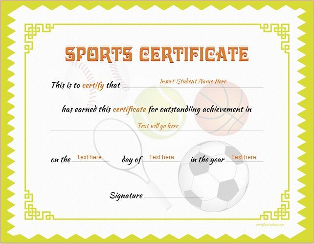 certificate templates microsoft word – Sport Certificate Templates for Word