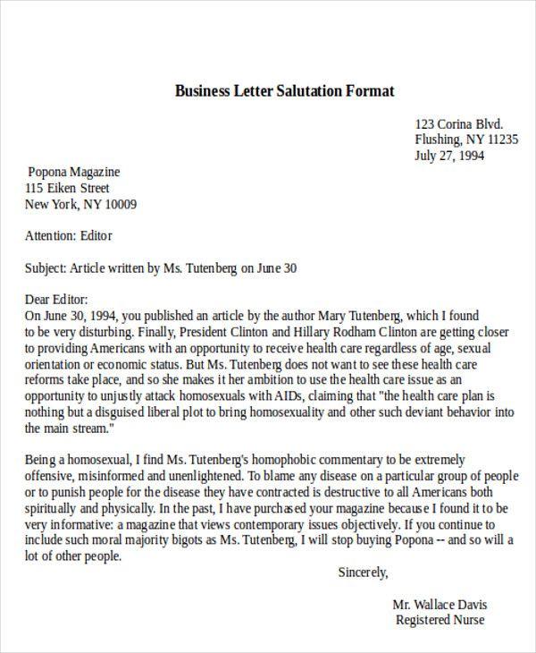 sample business letter salutation examples word pdf the for - business letter salutation