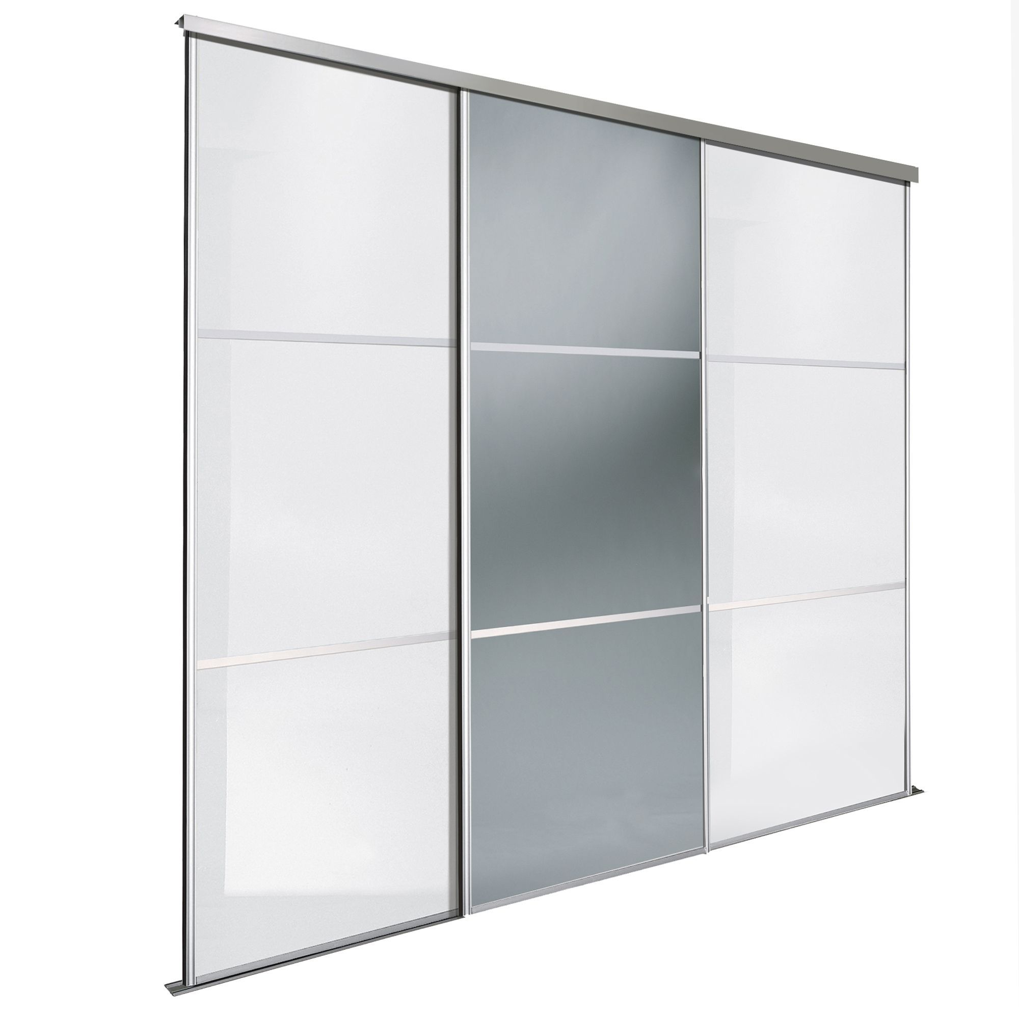 Wardrobe Kits Premium Select White And Smoked Grey Mirror Sliding Wardrobe