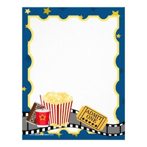 Movie Theatre Stationary boarders Pinterest Party - movie invitation template free
