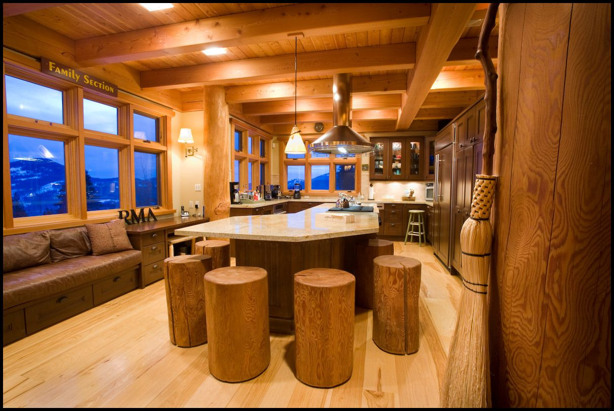 Rustic Stools Kitchens Log Home Kitchen Islands Kitchen Is The Unique Log