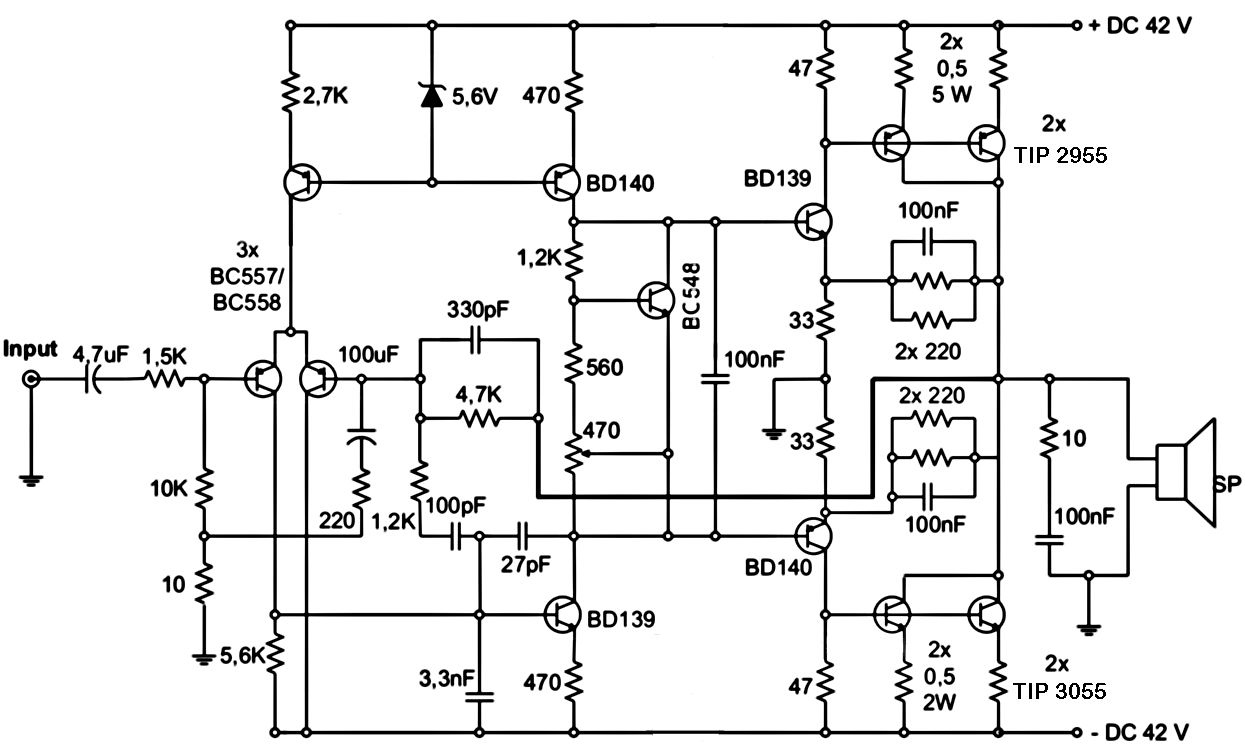 1000 watts audio power amplifier circuit diagram