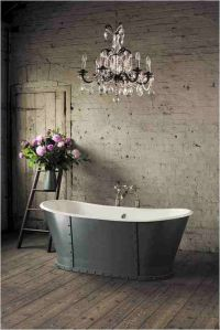 London: Rustic bathroom with silver French freestanding ...