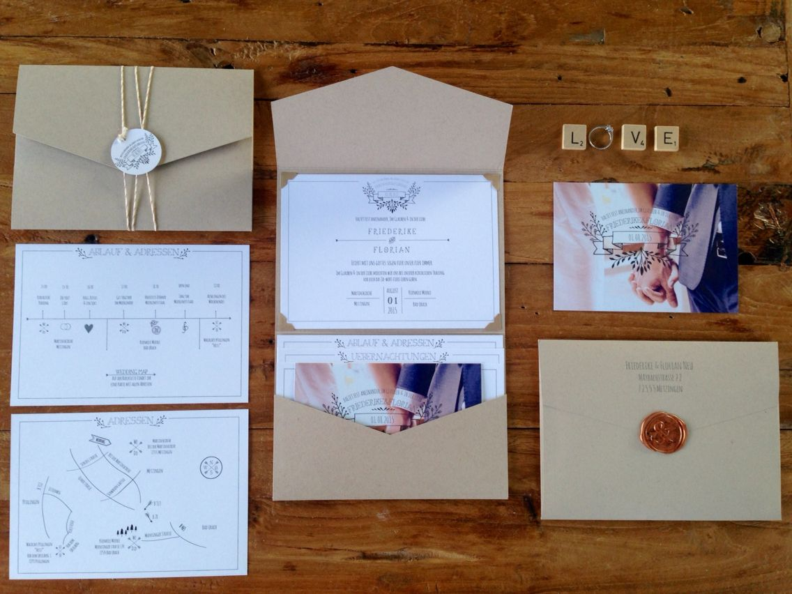 Diy Einladungskarten Vintage Wedding Handdrawn Pocketfold Invitation