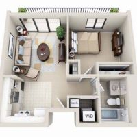 Beautiful 3D Small House Floor Plans One Bedroom on budget ...