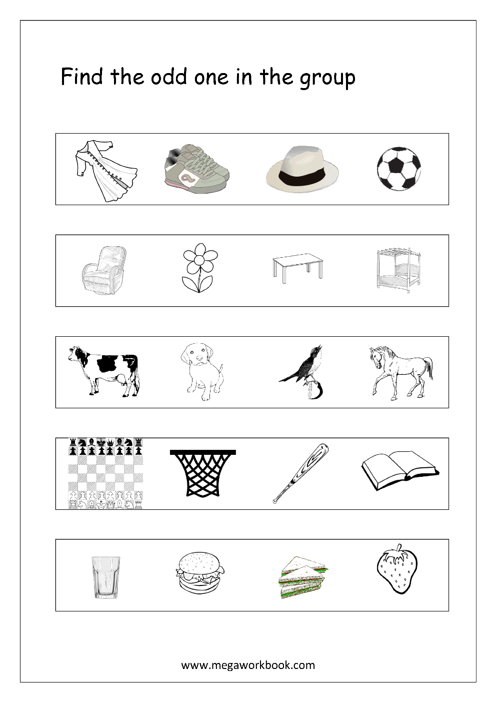 Free printable general aptitude worksheets for preschool and kindergarten find the odd one in the group