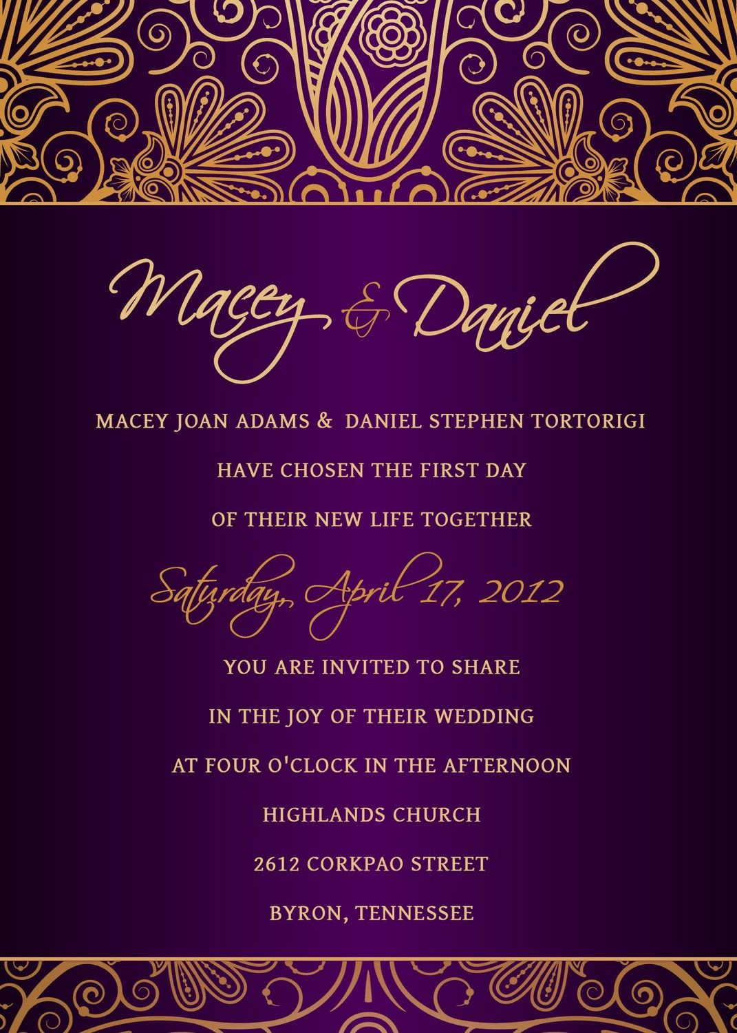 purple and gold wedding Personalized Royal purple and gold damask wedding invitation Available at Boardman Printing