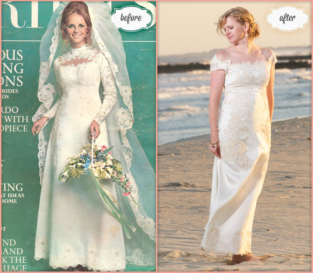 mothers wedding dresses Bride Danielle wore her mother s original wedding dress which graced the cover of Brides magazine in