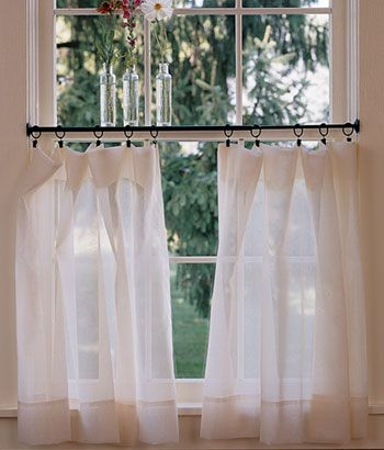 Thinking of doing a half\/tiered curtain in living room Like the - cafe curtains for living room