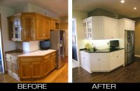 Refacing oak cabinets white.