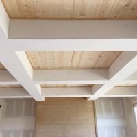 Check out the wood in our coffered ceiling!! Simple pine ...