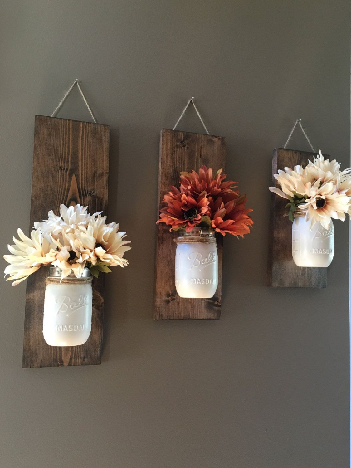 Flower Vase Ideas For Decorating Fall Wall Sconce Individual Mason Jar Sconce Flower
