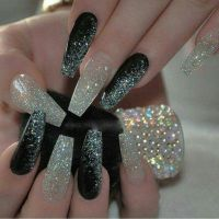 Black and glitter coffin nails | Nails | Pinterest ...
