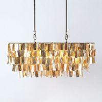 Large Rectangular Capiz Pendant - Gold | Chandeliers ...