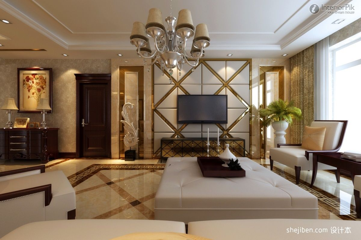 Design of atmospheric living room tv background wall