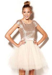 Custom junior bridesmaid dress in rose gold sequin, blush ...