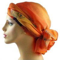 Tangerine Chiffon Turban Head Wrap Alopecia Head Scarf ...