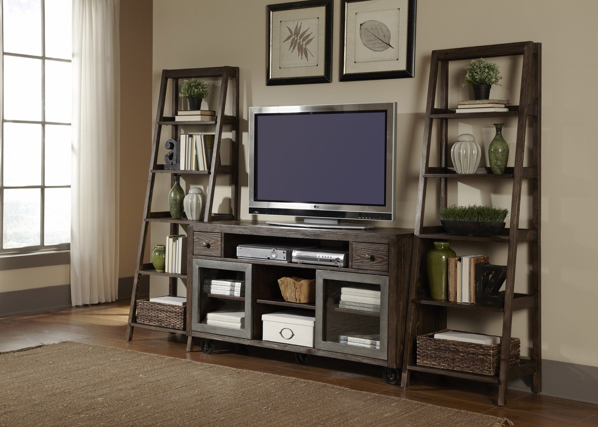 Tv Stand Decor Ideas Leaning Bookshelf Entertainment Center Avignon