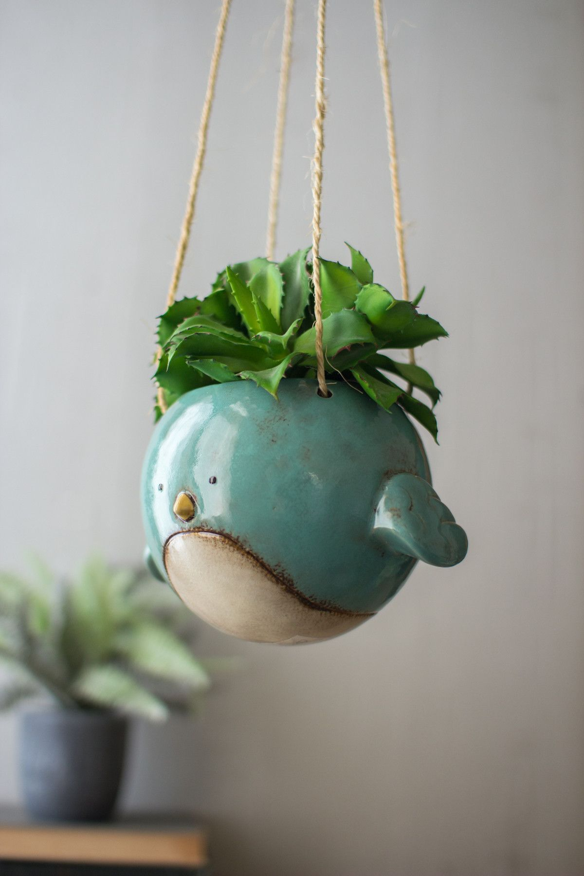 Ceramic Pottery For Plants Ceramic Hanging Planter Blue Bird Products Pinterest