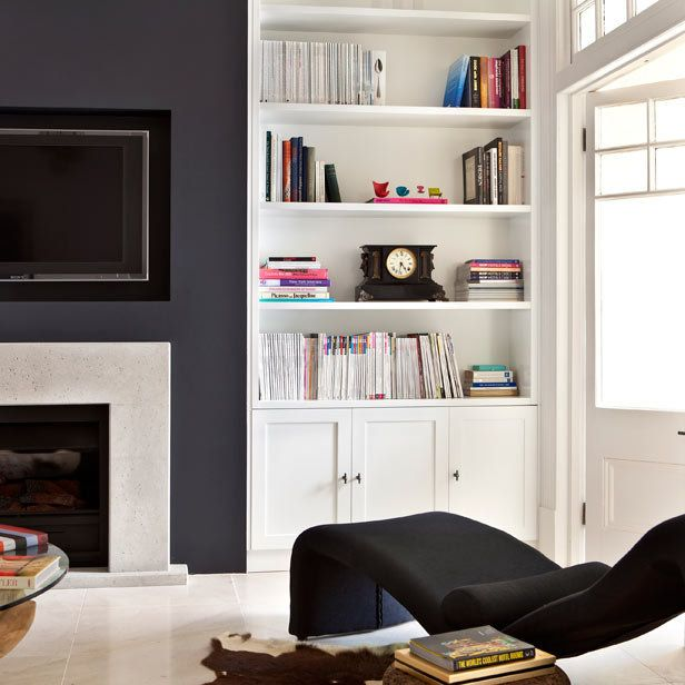 fireplace wall - shelves and cabinets? Dining room ideas - living room shelf unit