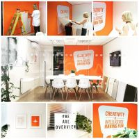 Orange office interior design. Overview Studios. Vinyl ...