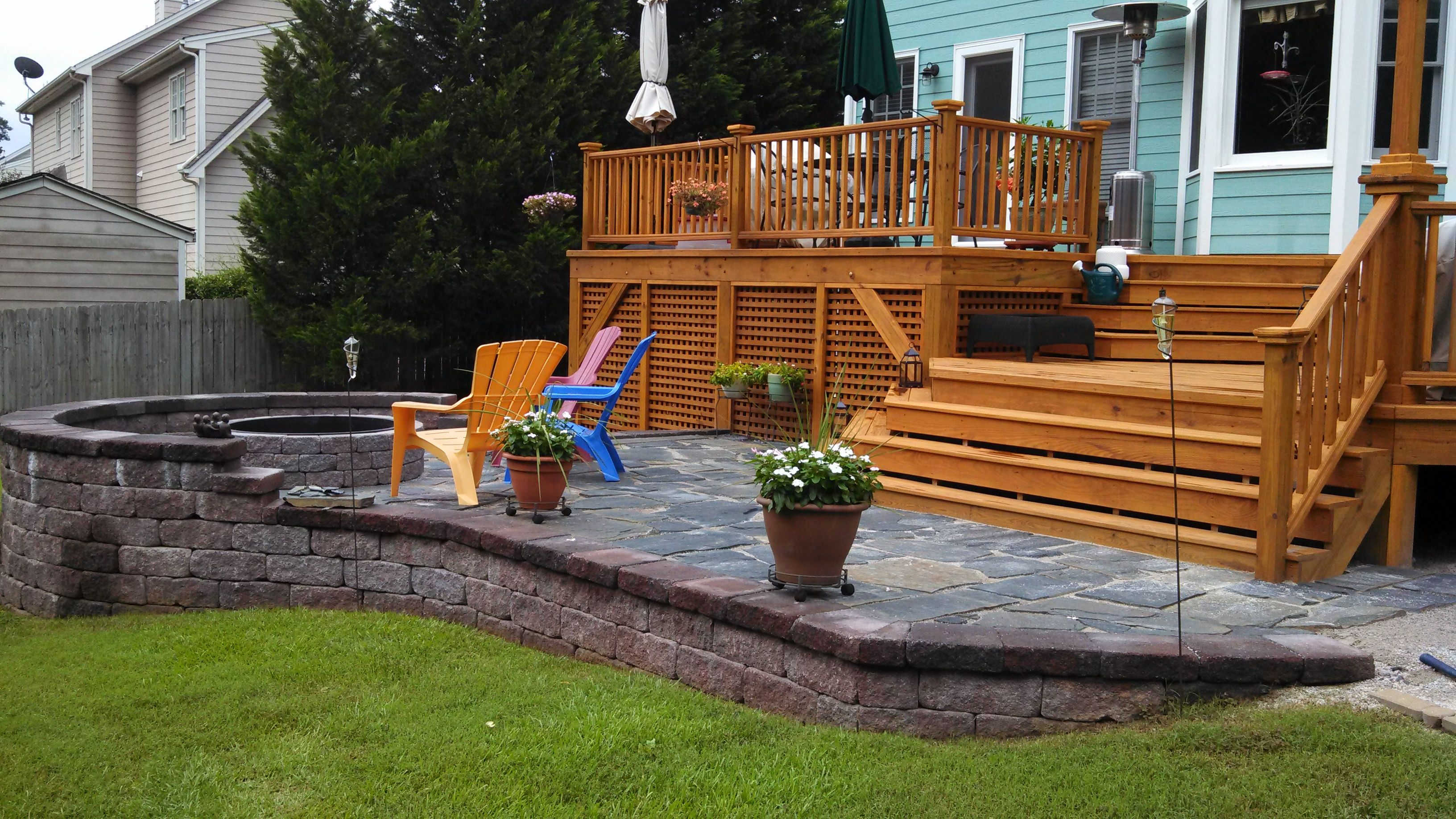 Custom Built Wood Deck And Stone Patio Deck Patio