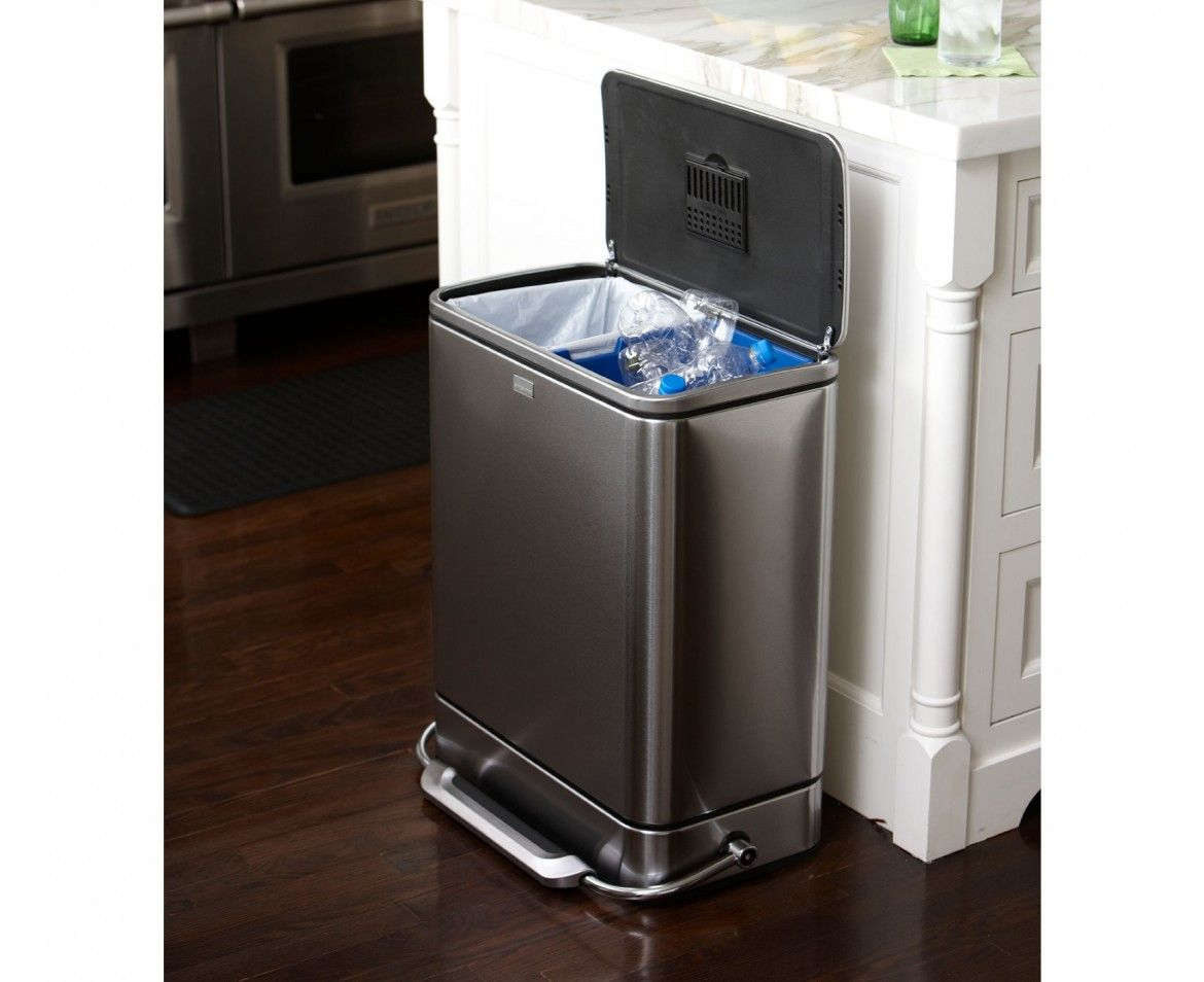 Rvs Vuilnisbak Simplehuman 55l Stainless Steel Bar Recycler And Trash Can