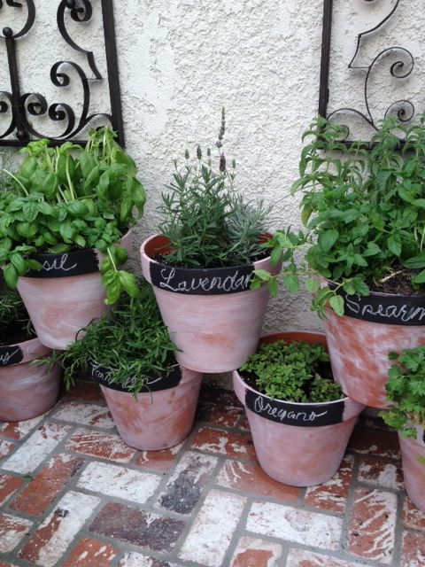 Angela-Herb garden for a small patio Perfect summertime project - container garden design ideas
