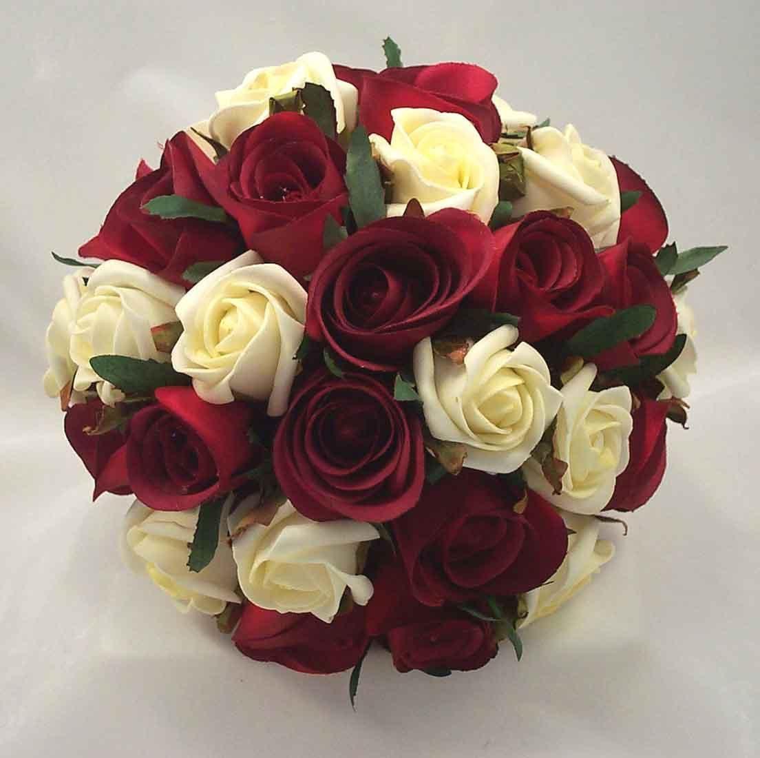 wedding flower bouquets Details about BURGUNDY IVORY ROSE BOUQUET WEDDING FLOWERS BRIDAL
