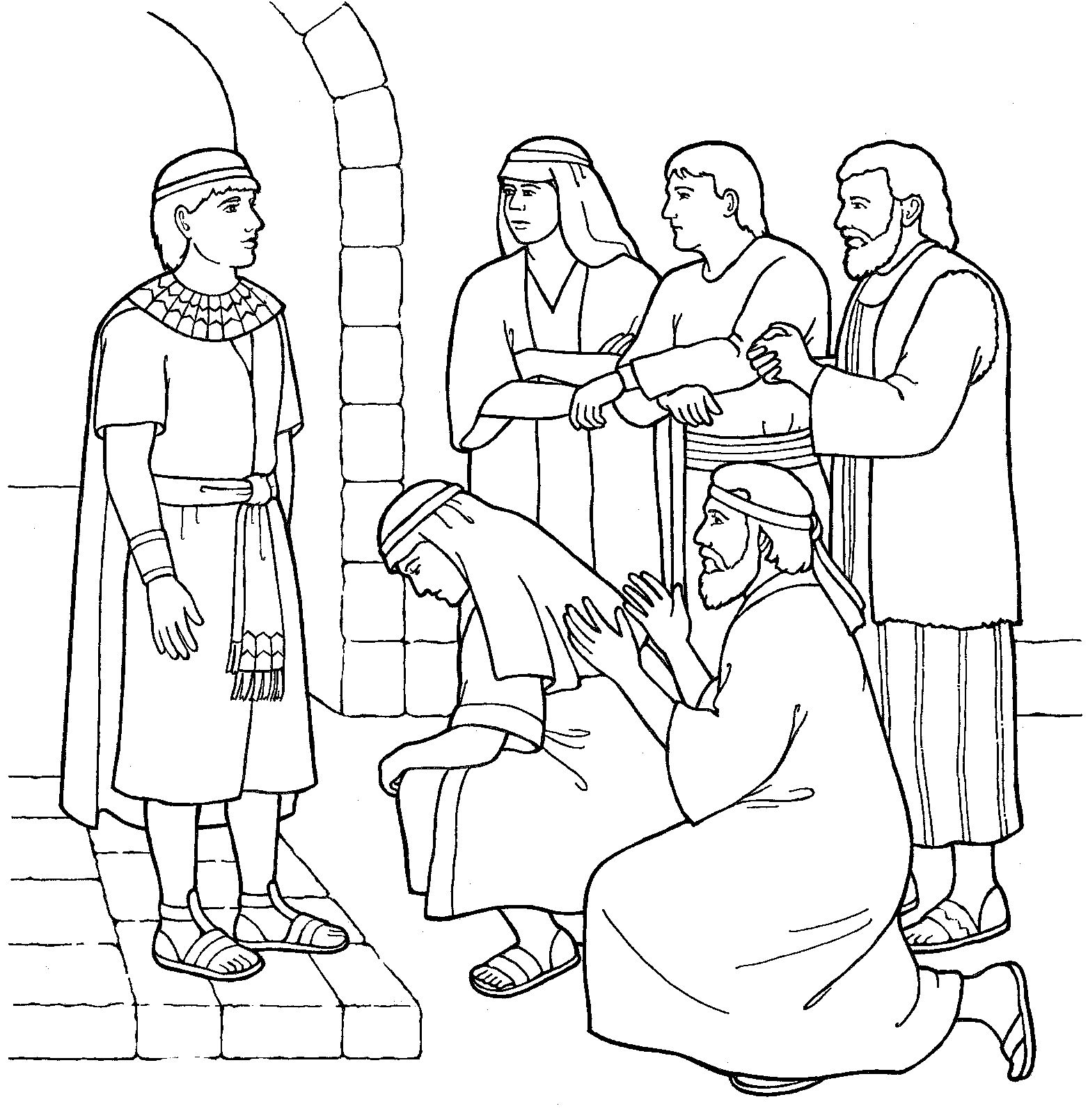 Joseph forgives his brothers primary coloring page from lds org lds