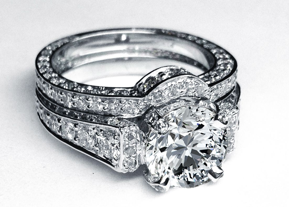 wedding ring big diamond wedding rings Large Round Diamond Cathedral Graduated pave Engagement Ring in 14K White Gold with Matching Pave Wedding