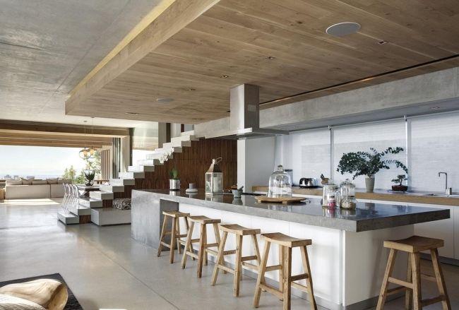 Wohnideen Küche Modern Weiß Glas Rückwand Graue Arbeitsplatte    Arbeitsplatten Aus Glas Extravagant