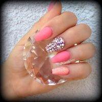 Coral coffin nails   Nail art and Inspiration   Pinterest ...