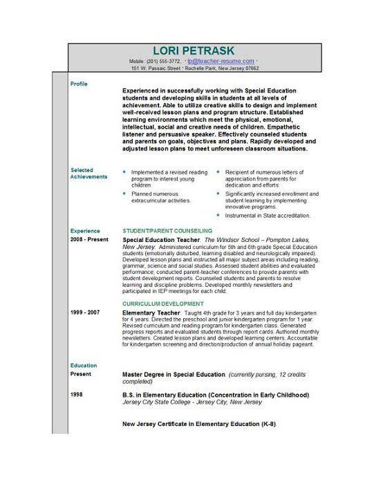 special ed teacher resume special education teacher resume and