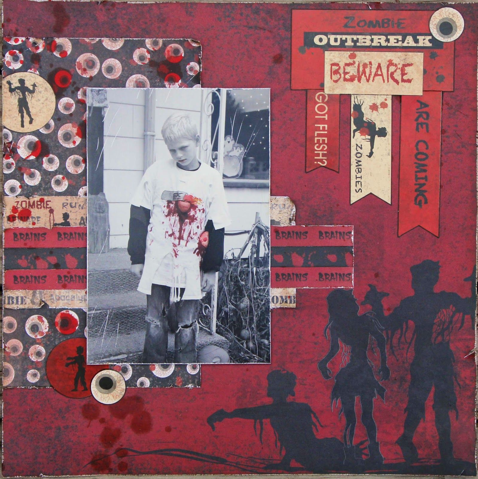 One person s scrapping compulsion moxxie zombieattack scrapbook zombie halloween