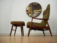 Mid Century Danish modern Teak Lounge chair and ottoman ...