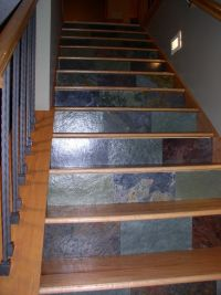 Ooh, pretty!! Granite scraps to decorate stair risers ...