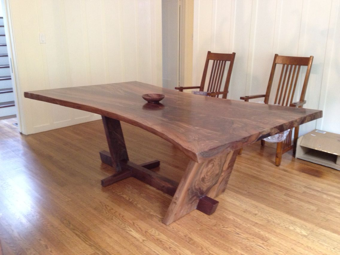 Japanese Style Kitchen Tables Hourglass Shaped Walnut Slab Dining Table With A Live Edge