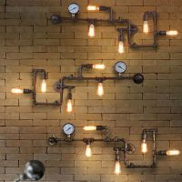 Vintage Steampunk Pipe Bar Wall Lamp Industrial Rustic ...