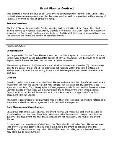 Event Planner Contract - Free Contract Templates by Hloom - event planner contract