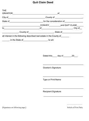 QuitClaim Deed Form - Free printable QuitClaim Deed Template 8ws - indemnity form template